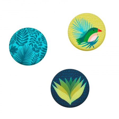 Lot de 3 aimants rond motifs exotique citron
