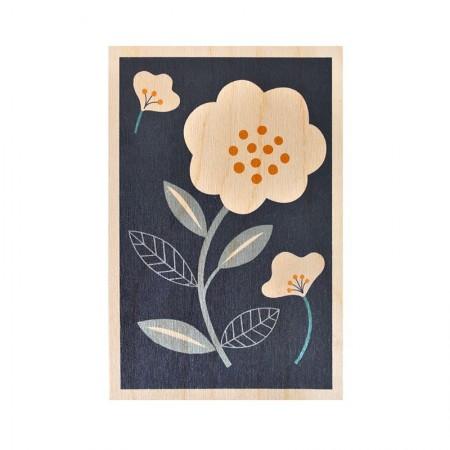 Carte postale en bois motif Camélia