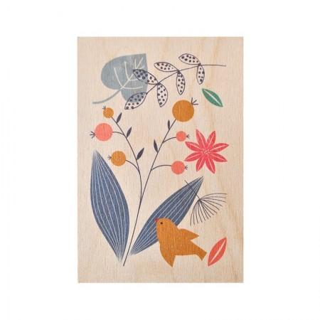 Carte postale en bois motif Poésie