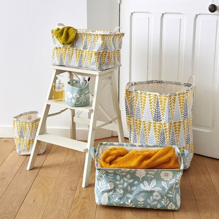 Yellow Branches Laundry Basket