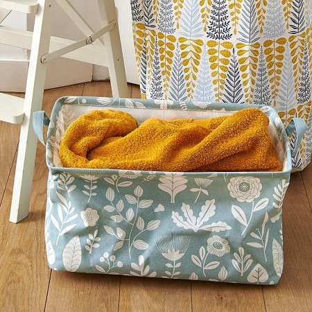 Yellow rectangular Botanic blue Basket