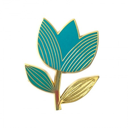 Turquoise Graphic Tulip Pin's