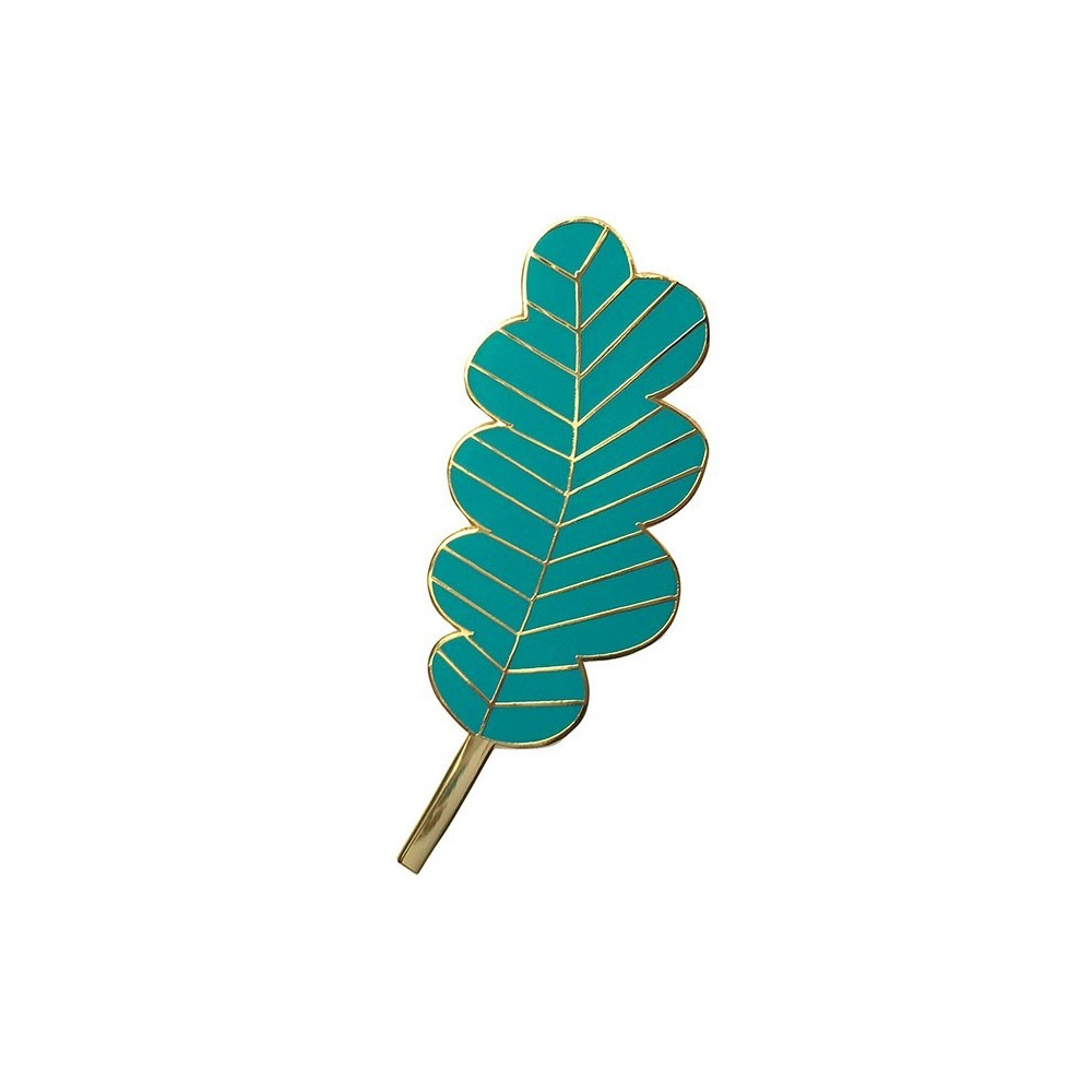 Pin's Grande Feuille Turquoise