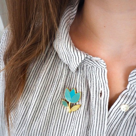 Pin's Tulipe graphique Turquoise
