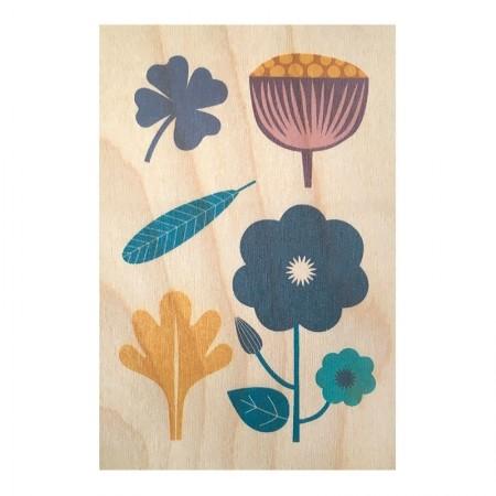 Carte postale en bois motif Botanique