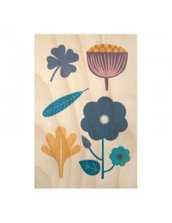 Botanical wood postal cards