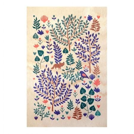 Carte postale en bois motif Forêt