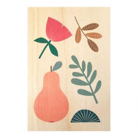Carte postale en bois motif Herbier