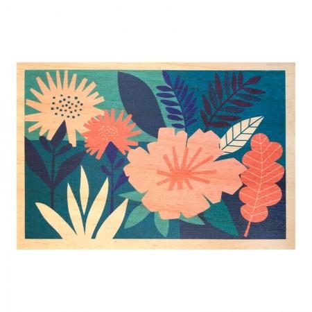 Carte postale en bois motif Papercut