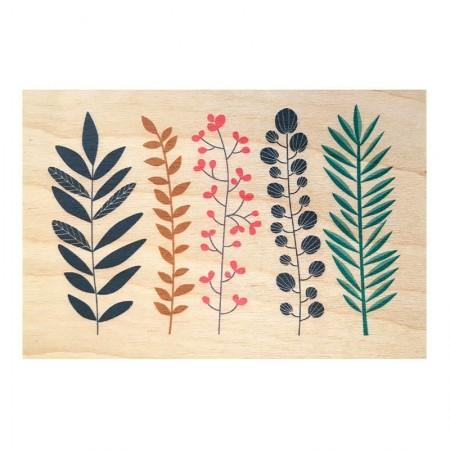 Carte postale en bois motif Jardin