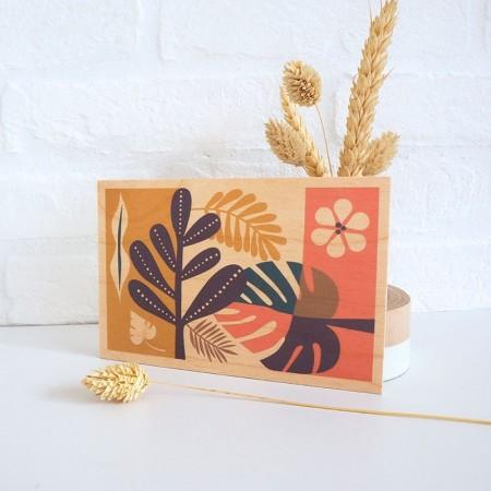 Carte postale en bois motif Tropic