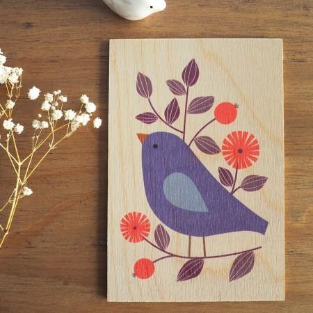 Carte postale en bois motif Oiseau
