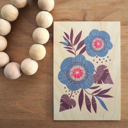 Carte postale en bois motif Anémones