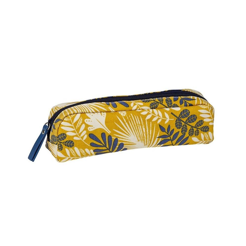 Trousse à crayon enduite motif Tropic