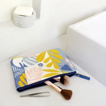 Canvas clutch bag with Tropic Yellow pattern