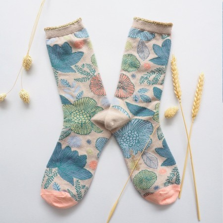 Chaussettes fantaisie en Jacquard motif Hawaii grège