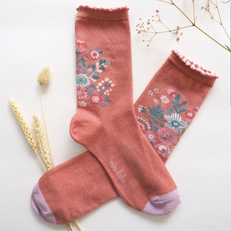 Jacquard socks with Terracotta bouquet Pattern