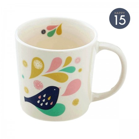 Porcelain mug with feather pattern
