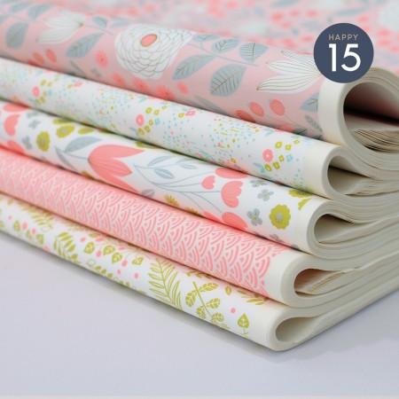 Papier japonais à la feuille motif Jardin Litchi fond blanc
