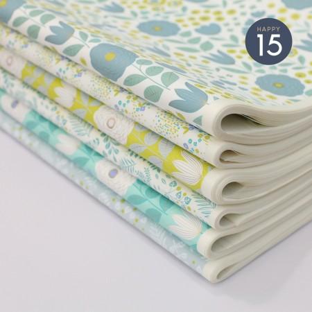 Papier japonais à la feuille motif Jardin Green fond blanc
