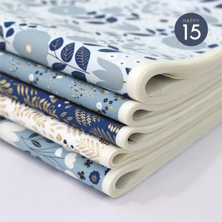 Papier japonais à la feuille motif Jardin Bleu Gris