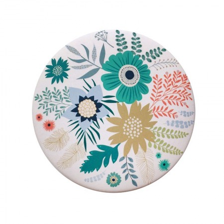 Miroir rond de poche motif Bouquet