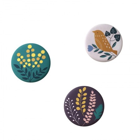Lot de 3 aimants rond motifs Bird