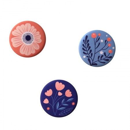 Lot de 3 aimants rond motifs Blossom