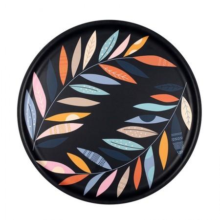 Plateau rond en bouleau motif Rameaux - 35cm -