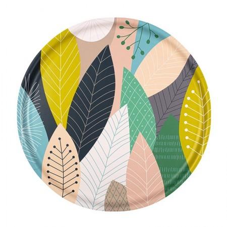 Plateau rond en bouleau motif Plume et feuilles - 35cm -