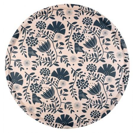 Plateau rond en bouleau motif Blossom - 45cm -
