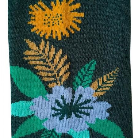 Chaussettes fantaisie en Jacquard motif Papercut vert forêt