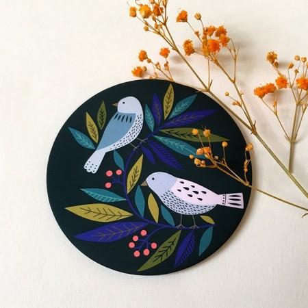 Miroir rond de poche motif Birds