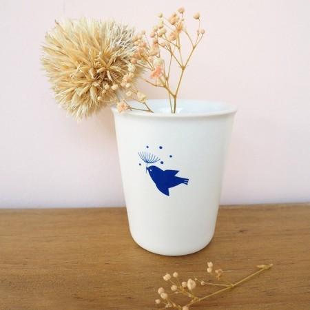 Gobelet en porcelaine l'Envol bleu indigo