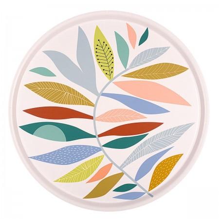 Plateau rond en bouleau motif Leaf - 45cm -