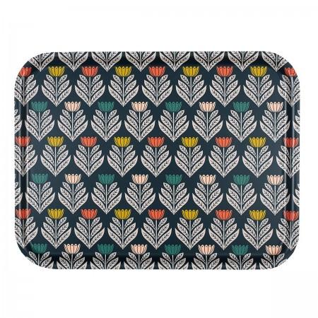 Plateau rectangulaire en bouleau motif Tulipes - 43x33cm -