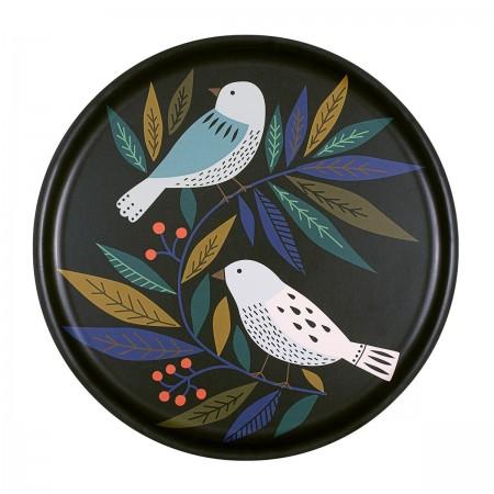 Plateau rond en bouleau motif Birds - 35cm -