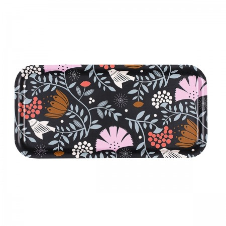 Plateau rectangulaire en bouleau motif Indian bird nuit - 28x14cm -