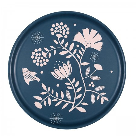 Indian indigo round Tray - 35 cm -