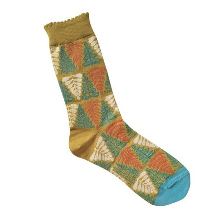 Jacquard socks with multico branch Pattern