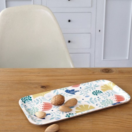 Indian bird ecru Tulip Tray - 28x14cm -
