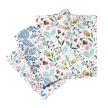 Pack of 3 washable cotton handkerchiefs with mixed design