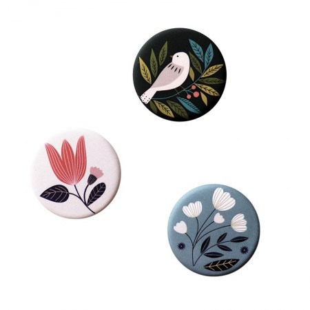 Lot de 3 aimants rond motifs Bird noir