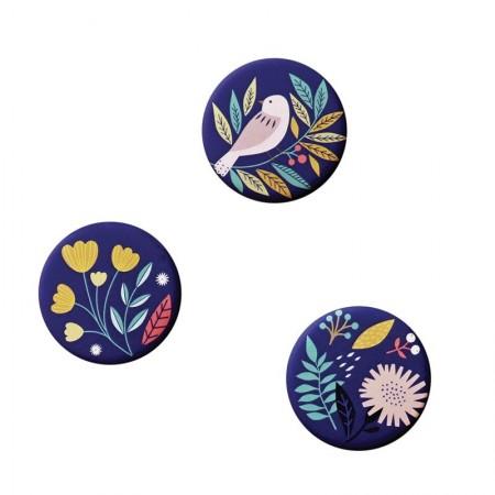 Lot de 3 aimants rond motifs Bird bleu