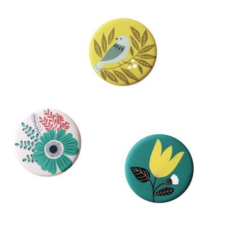 Lot de 3 aimants rond motifs Bird lemon