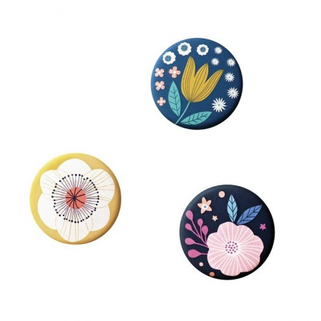 Lot de 3 aimants rond motifs Jardin Secret