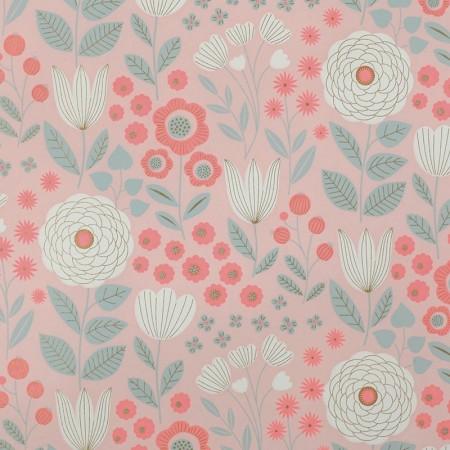 Papier japonais à la feuille motif Jardin Litchi fond rose