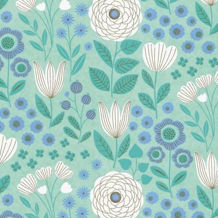 Papier japonais à la feuille motif Jardin Menthe