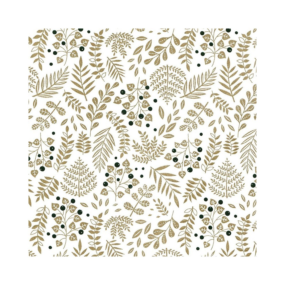 Papier japonais à la feuille motif Buisson Gold