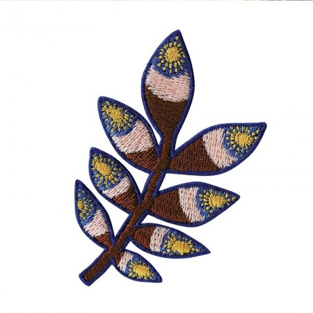 Embroidered iron-on patch with Brown Tropic pattern